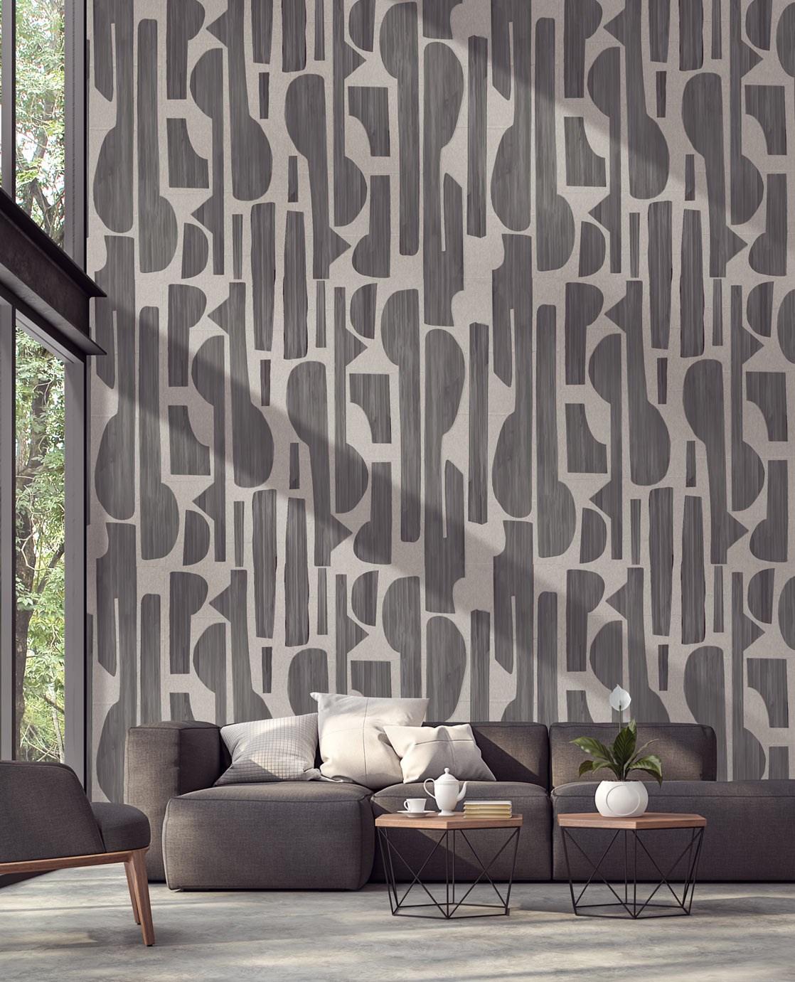 sufragerie in culoarea gri eleganta cu tapet