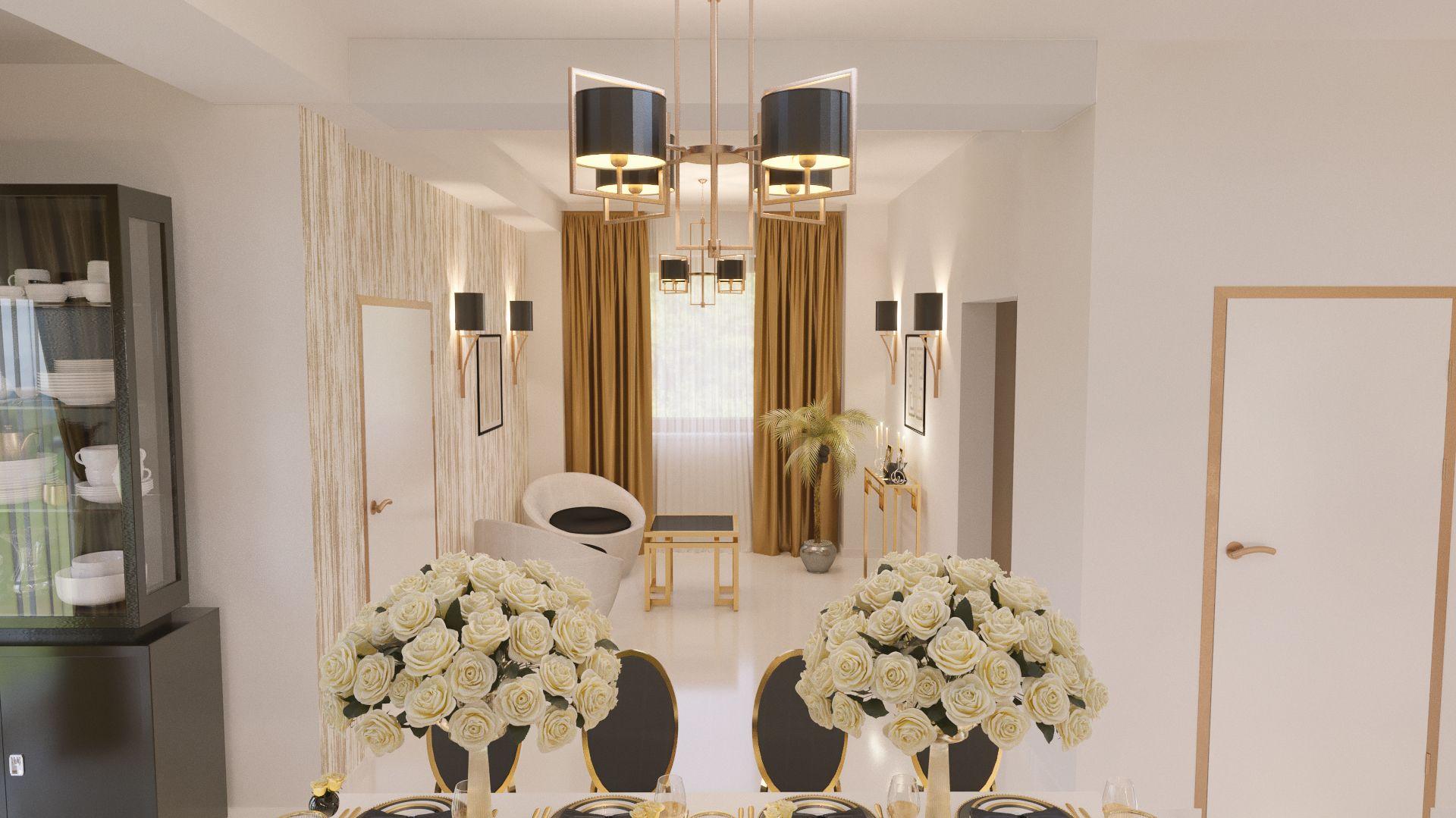 Sufragerie cu canapele albe, elemente decorative, perete cu figuri geometrice din metal auriu