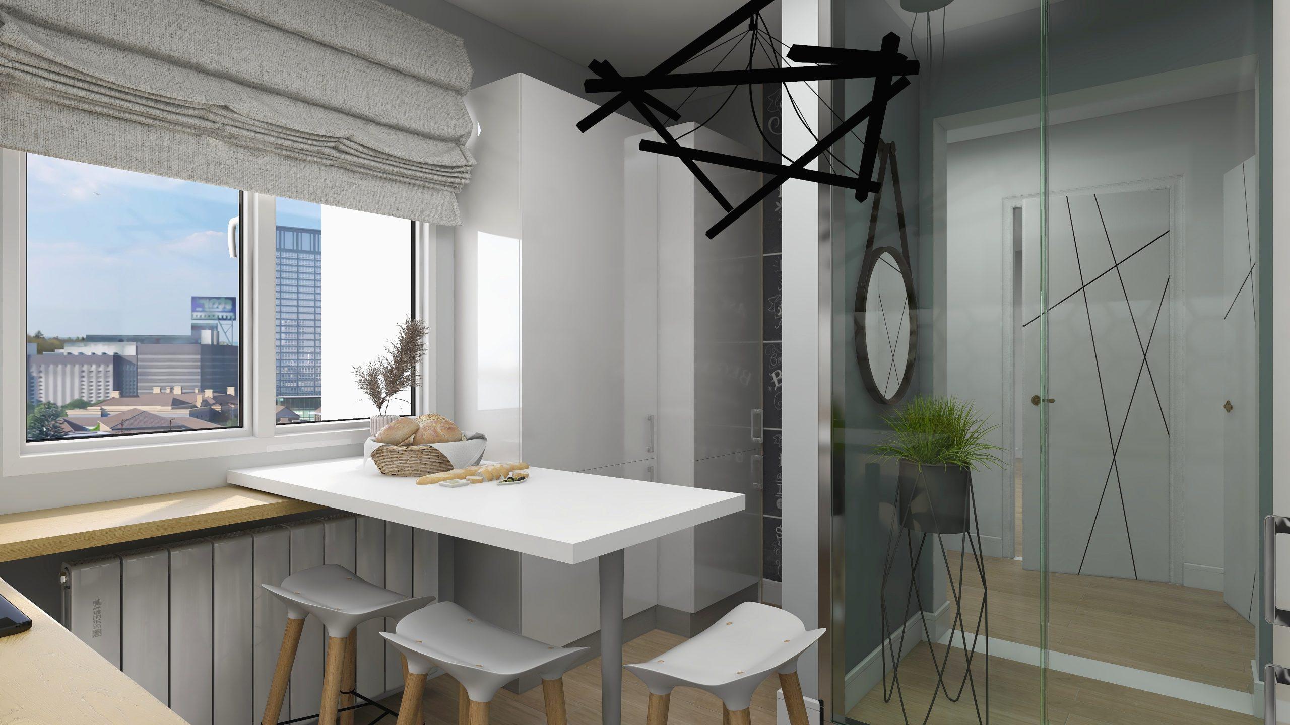 Bucatarie in stil contemporan cu elemente combinate alb, gri si negru