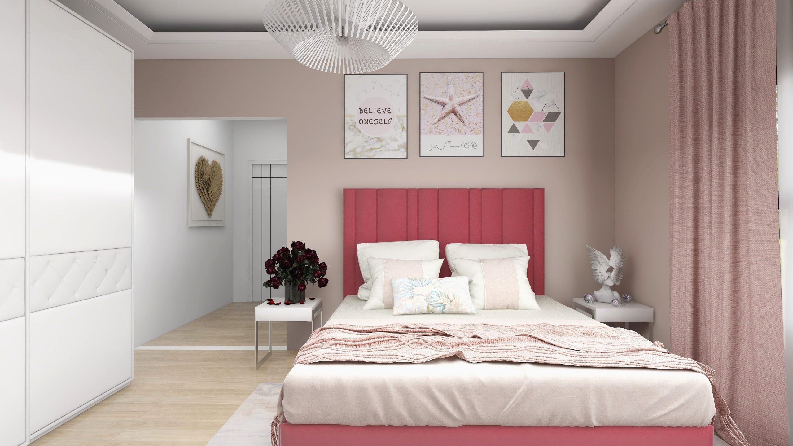 Design camera fete culori roz si piersica