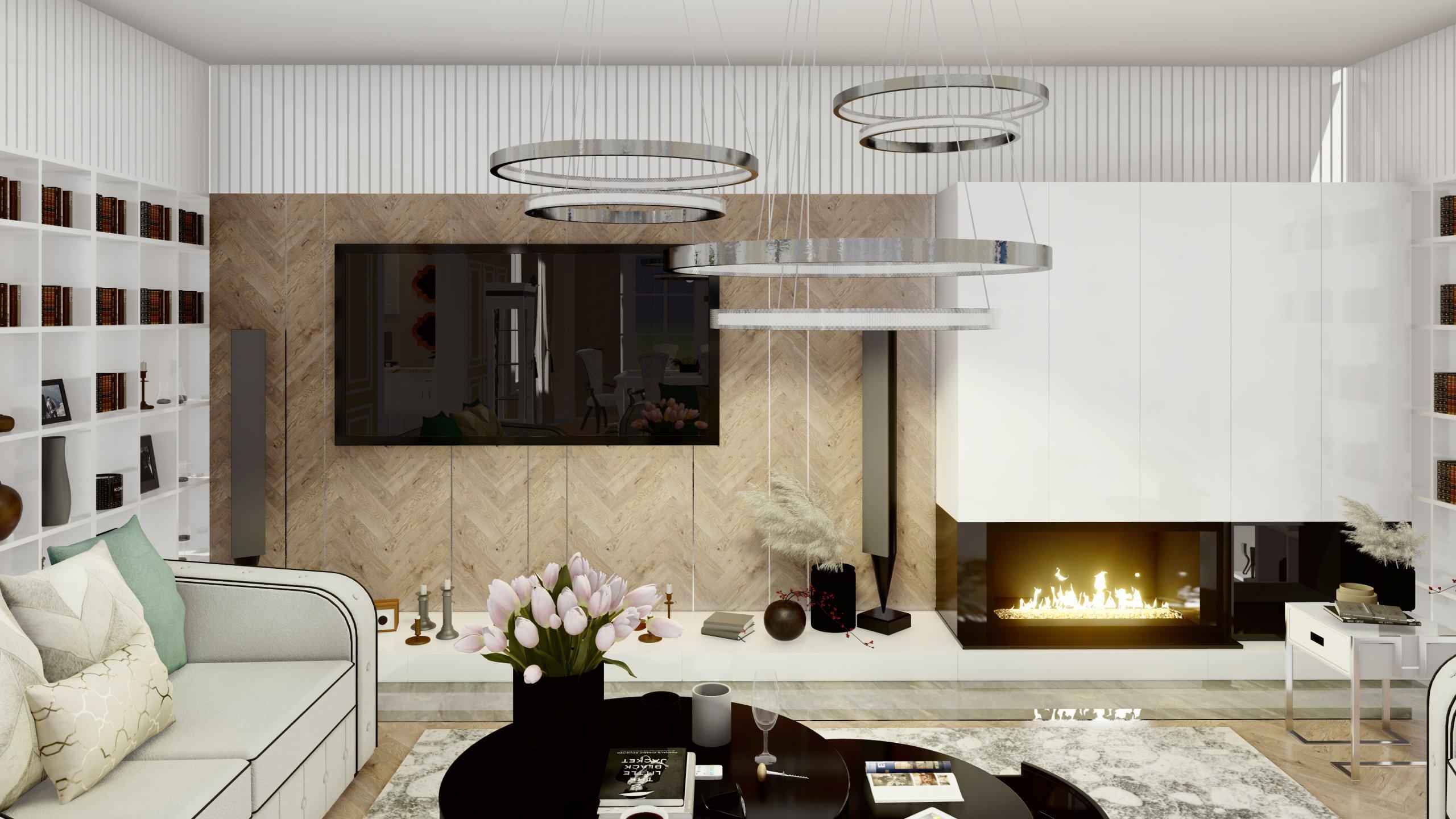 Sufragerie amenajata elegant in tonuri de alb, crem si negru