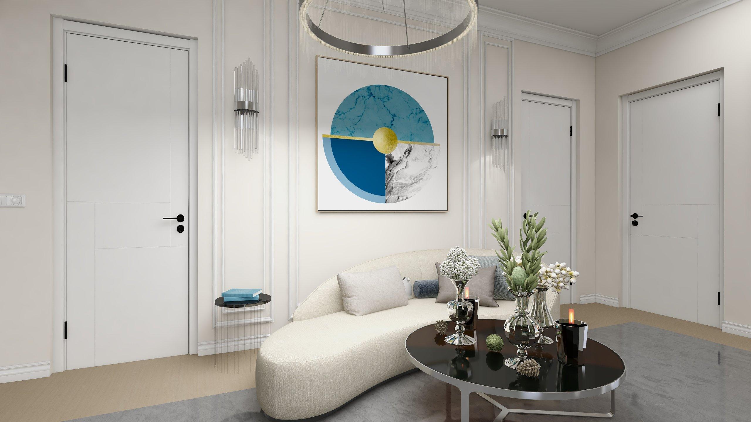 zona de relaxare vila alexandria cu culori crem si decoratiuni elegante
