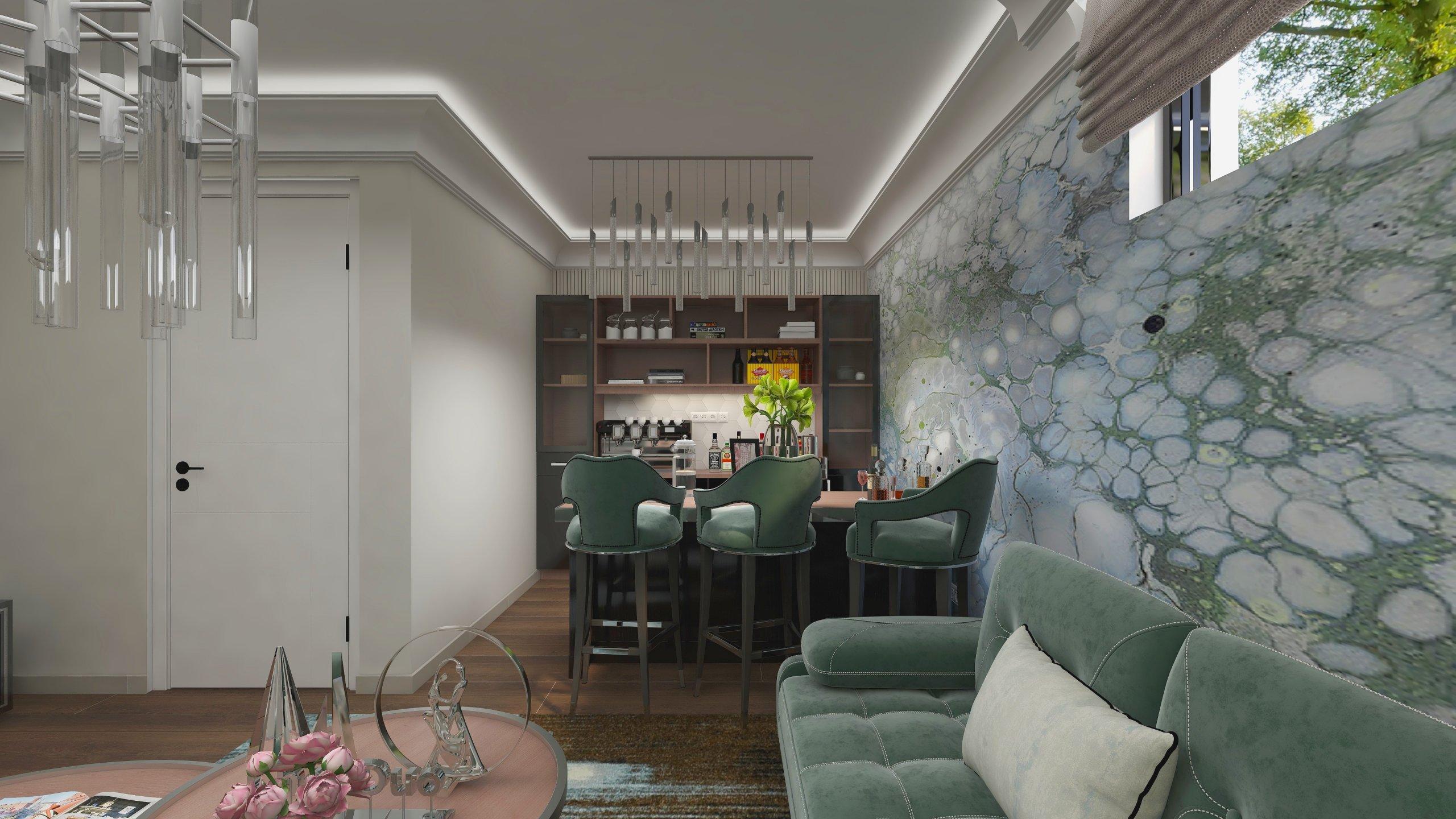Bar elegant amenajat cu verde argintiu si mult alb