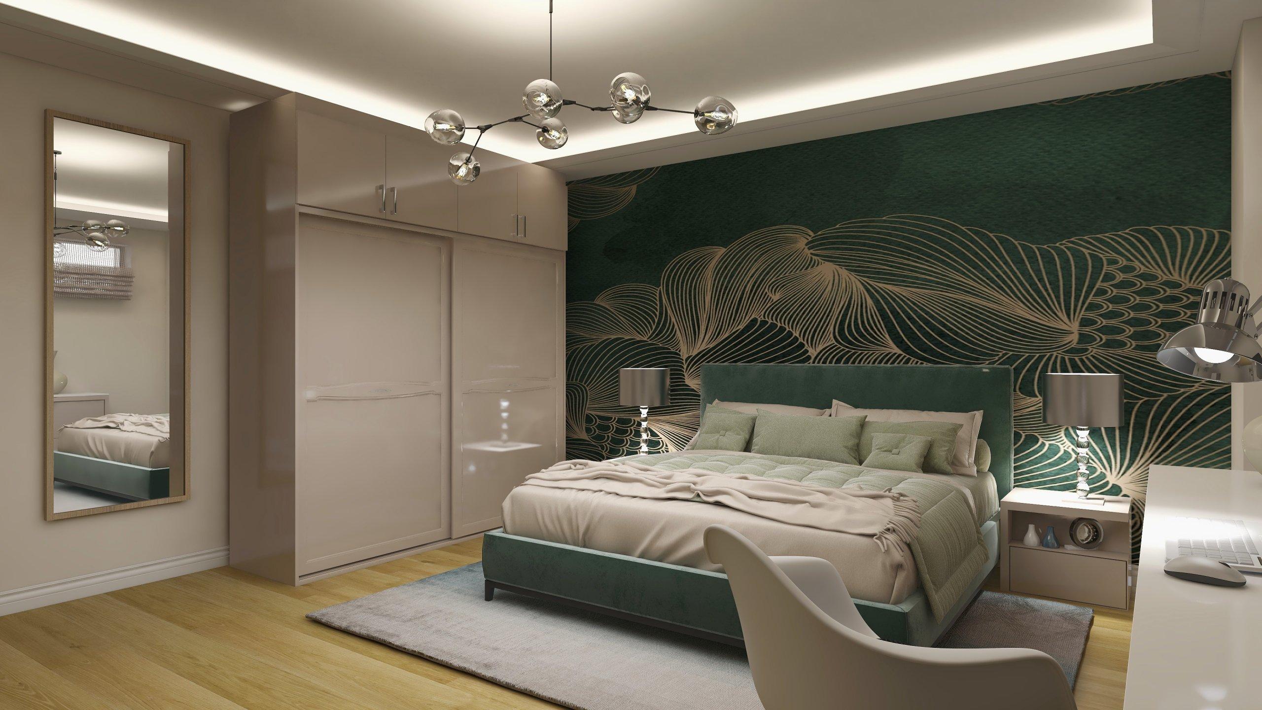 Dormitor amenajat cu tapet verde cu auriu si mult crem