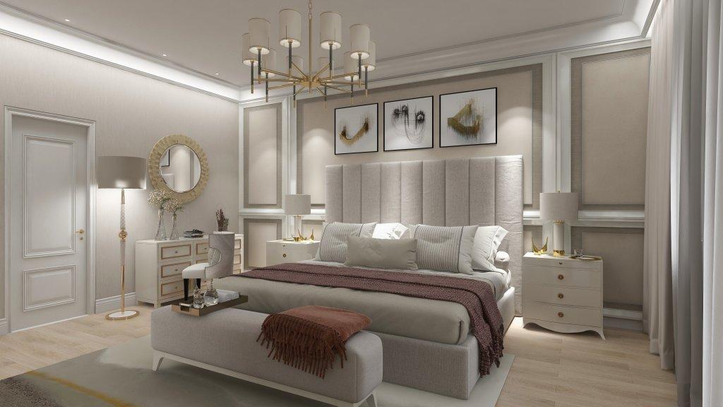 Dormitor decorat in alb cu obiecte elegante art deco