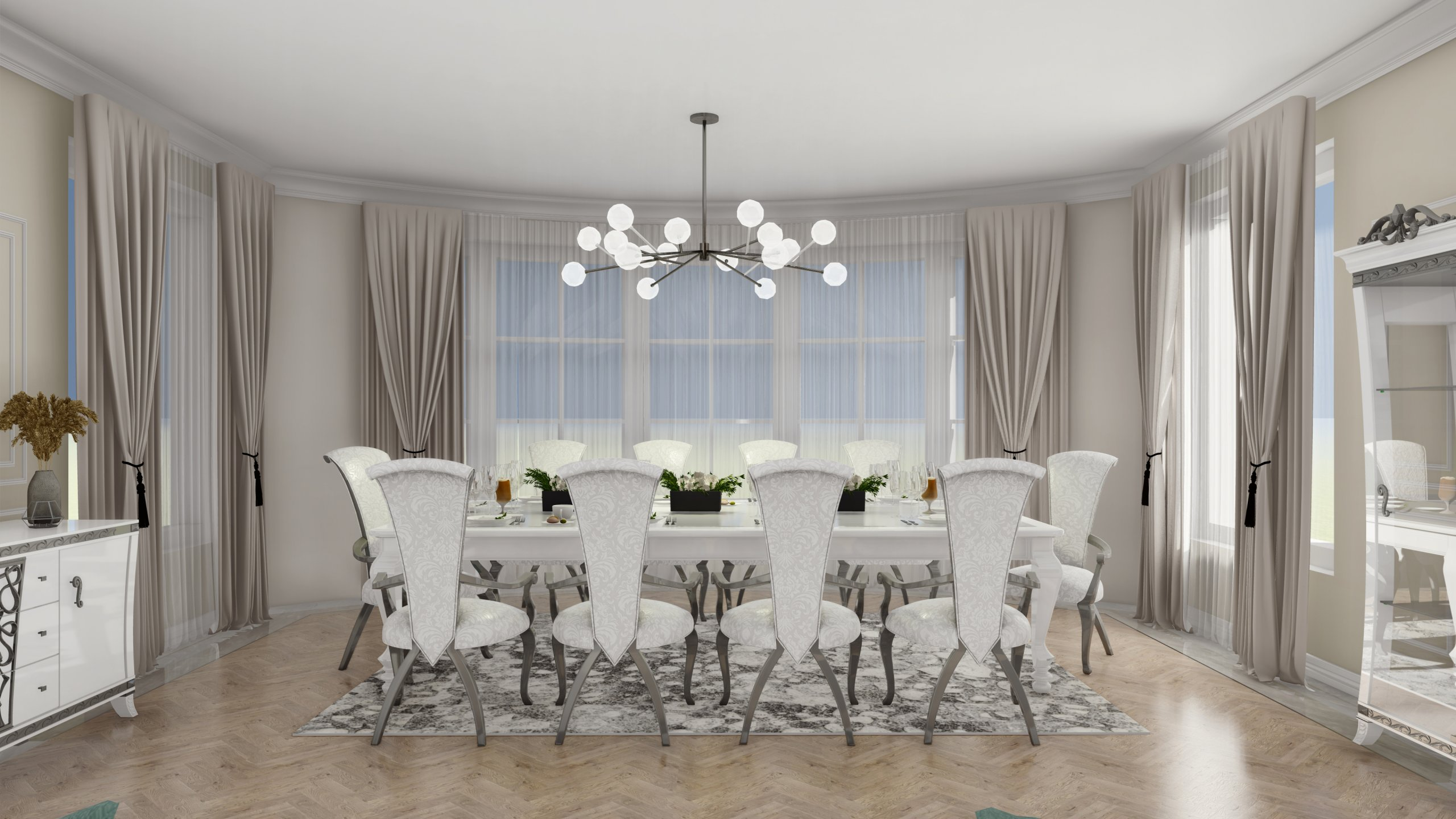 Sala dining amenajata in tonuri bej, alb si argintiu