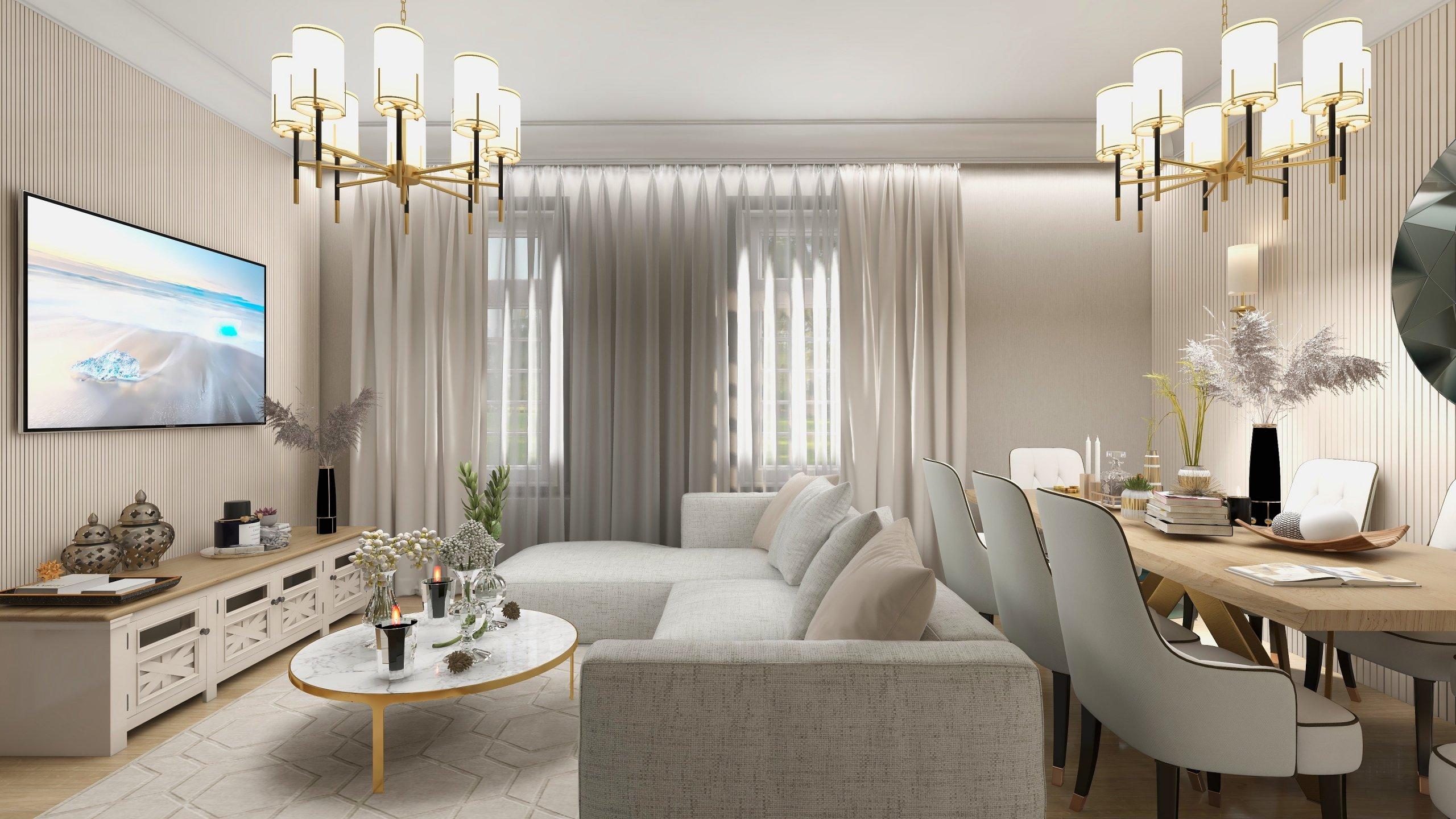Sufragerie cu masa dining in cluori deschise crem cu alb