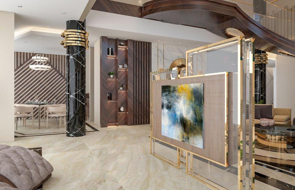 Sufragerie amenajata in stil contemporan cu elemente de decor maro, crem si auriu