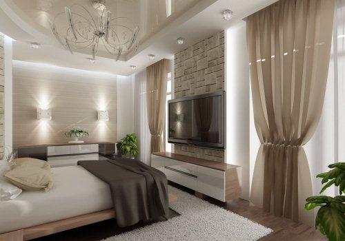 Dormitor amenajat contemporan cu elemente elegante, fine de culoare crem, alb, maro si culoarea lemnului