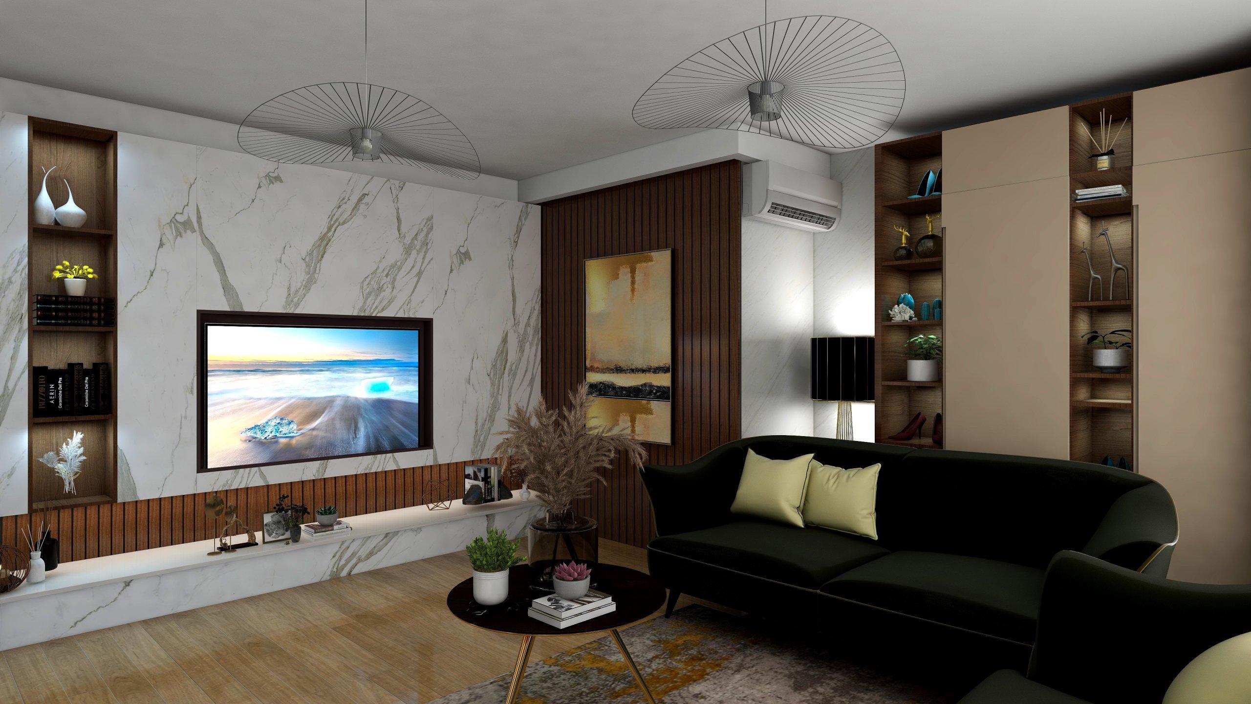 Living decorat modern cu riflaj de lemn