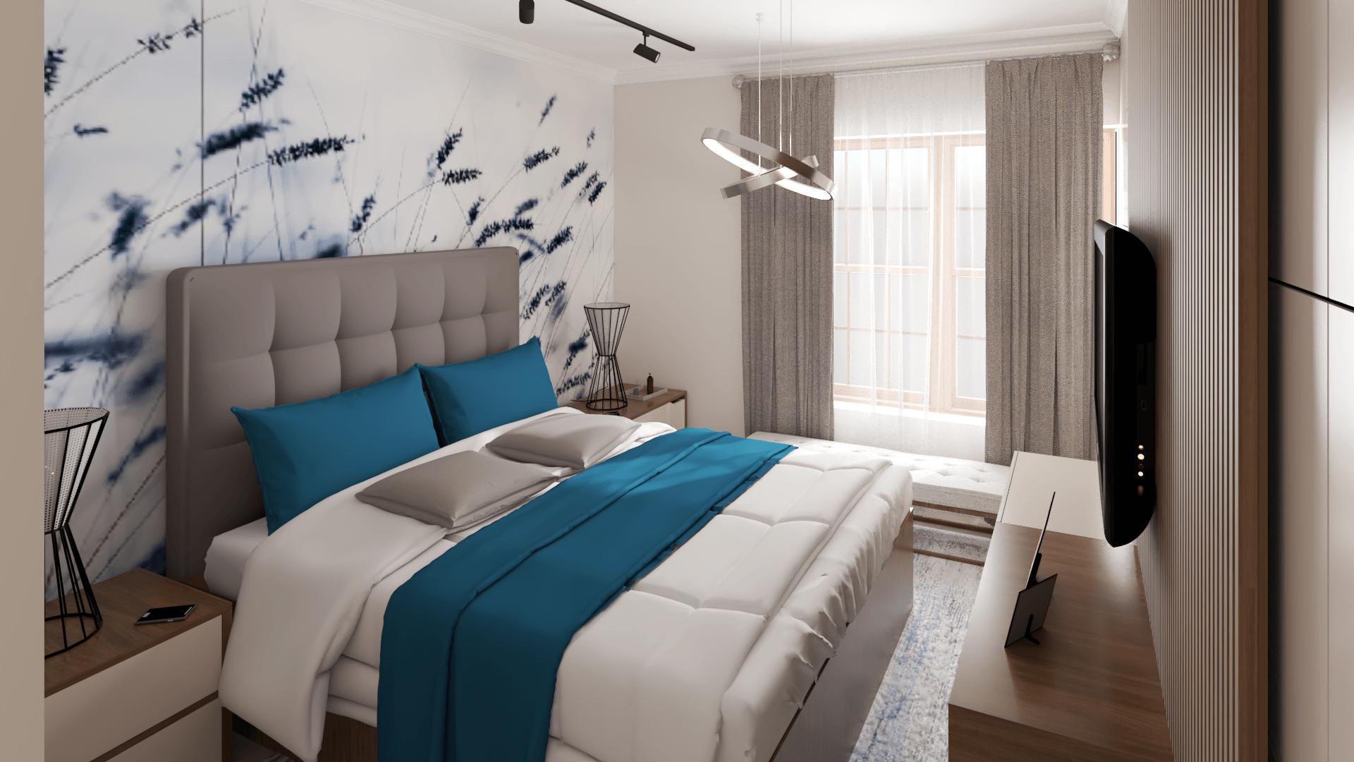 Dormitor amenajat in culori calde, deschise cu tapet cu lavanda