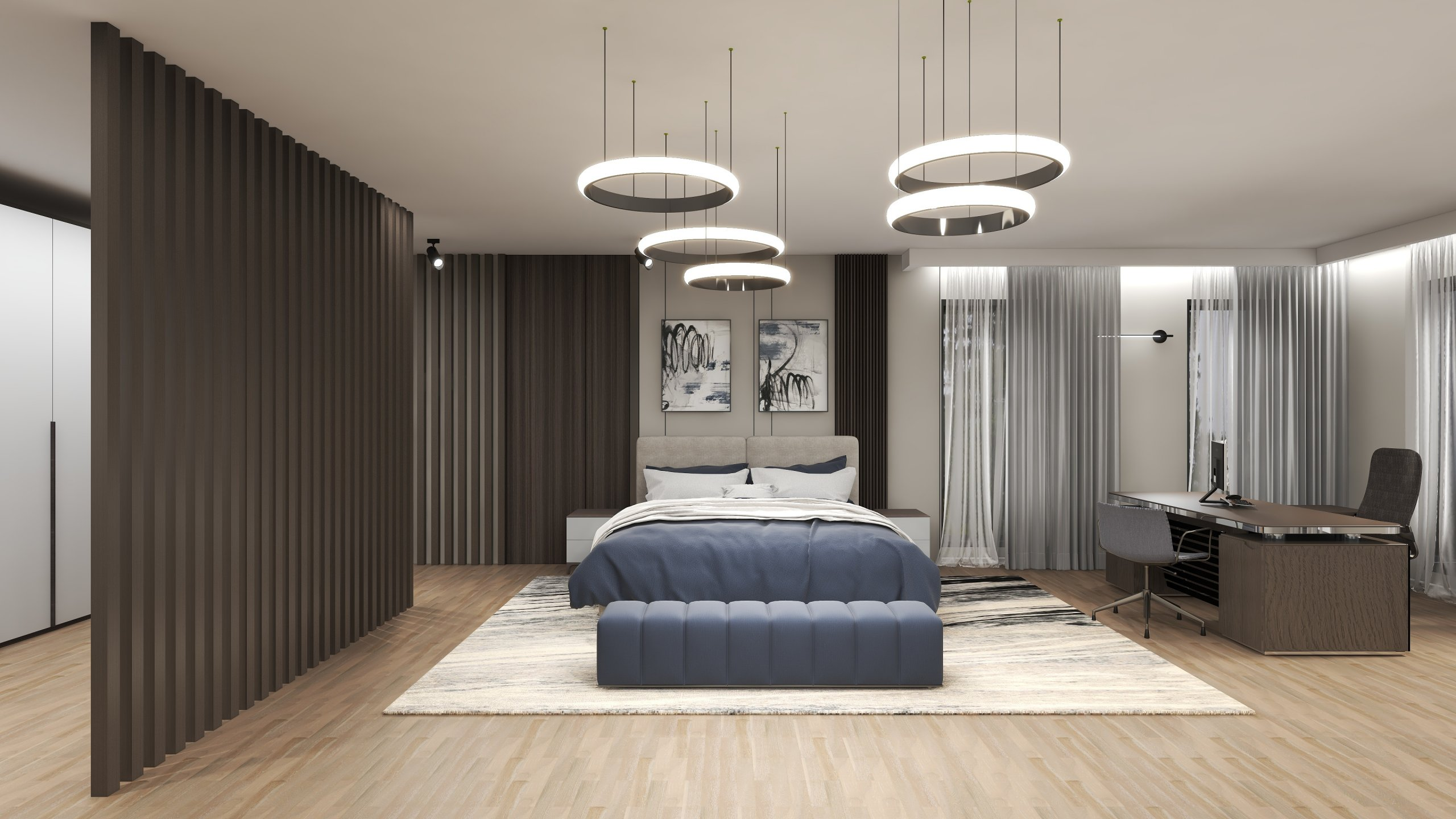 Dormitor etaj amenajat masculin